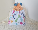 Cactuses - small drawstring project bag