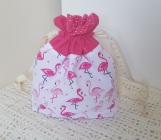 Flamingos - small drawstring project bag