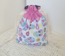 Skulls - small drawstring project bag