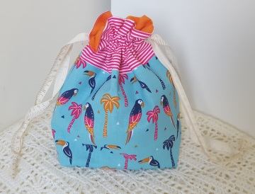 Toucans - small drawstring project bag